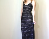 Vintage LACE Dress •1990s Clothing • Black Stretch Lace Bandage Bodycon Long •90s Rampage Backless Maxi Column Gown • Womens Small Medium