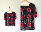 Vintage SEQUIN ROSE Top • 1980s Clothing • Beaded 80s Party Blouse Shirt • Bold Black Red Geometric Floral Print • Women size Small Medium