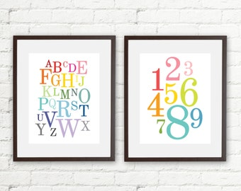 Rainbow ABC 123 • Alphabet & Numbers • Set of 2 • 8x10 Printable • Instant Download