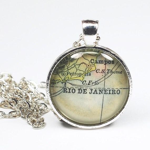 rio de janeiro map necklace vintage map pendant jewelry by