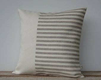Minimal Striped Linen Pillow Cover, Neutral Spring Home Decor by JillianReneDecor, Two Tone, Natural & Ivory, Colorblock Pillow, Scandi MS01
