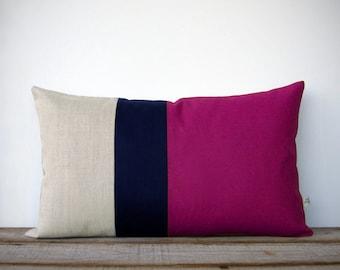 Colorblock Pillow Cover in Sangria, Navy & Natural Linen Stripes (12x20) by JillianReneDecor - Modern Home Decor - Pantone Fall - Wine