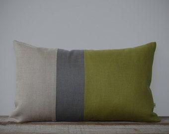 Colorblock Pillow Cover in Linden Green, Stone Grey & Natural Linen Stripes (12x20) by JillianReneDecor - Modern Home Decor - Moss
