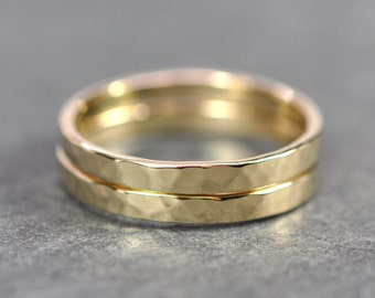 14K Yellow Gold Wedding Bands, Hammered Texture, Set of Two 2mm Rings, Stacking Gold Rings, Sea Babe Jewelry
