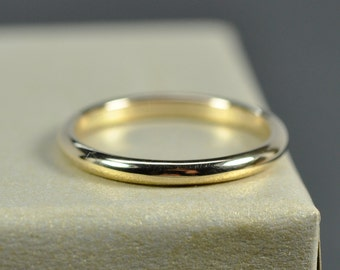 14K Yellow Gold 2x1.5mm Half Round Ring, Smooth Polished Finish, Recycled Gold Wedding Ring, Sea Babe Jewelry