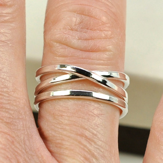 Infinity Plus One Ring, Recycled Silver Unique Ring Set, Stacking Silver Rings, Sea Babe Jewelry