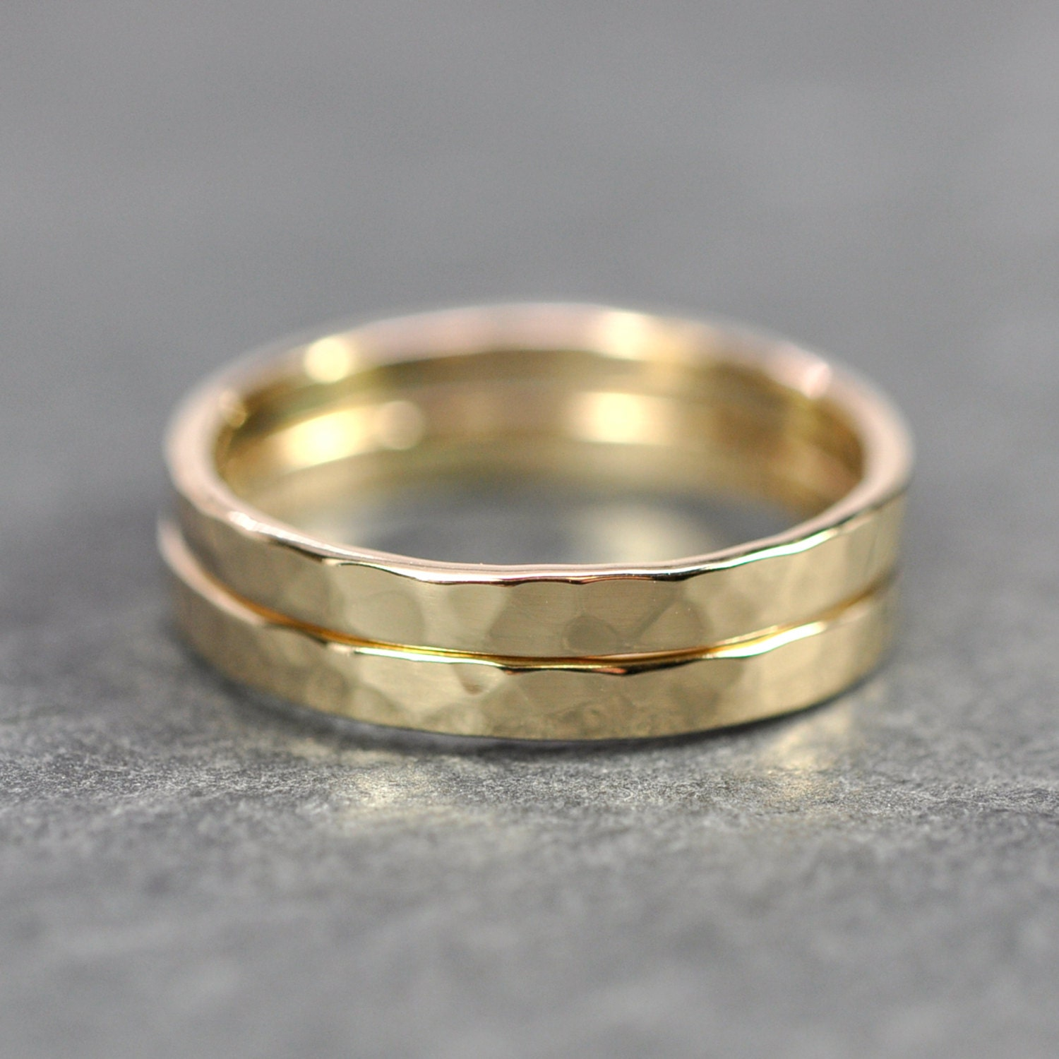 14K Yellow Gold Wedding Bands Hammered Texture Set Of Two