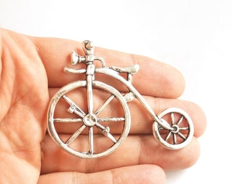 1pc Silver plated old fashion bicycle pendant- 68x50mm (411-008SP)