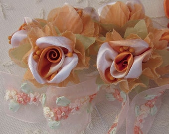 36pc Chic ORANGE WHITE Satin Organza Ribbon Wired Rose Peony Flower Reborn Doll Bridal Wedding Bow Hair Accessory Applique