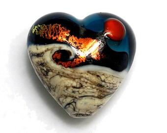 Handmade Glass Lampwork Bead - Romantic Isle Waves Heart Focal Bead 11833705