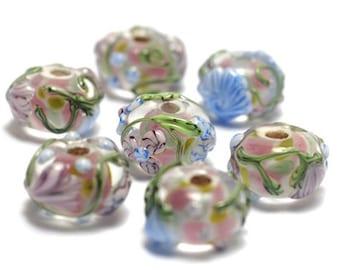 Handmade Glass Lampwork Bead Set - Seven Light Pink w/Blue Floral Rondelle Beads 11005401