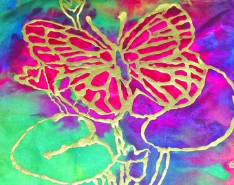 Pink Butterfly notecards five in a box, orginal design by artist April  blank inside