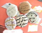 "Handmade Vintage Retro Style Postal Script Words Airmail Stamps Fabric Covered Buttons, Vintage Airmail Stamps Magnets, Flat Back 1.2"" 5's"