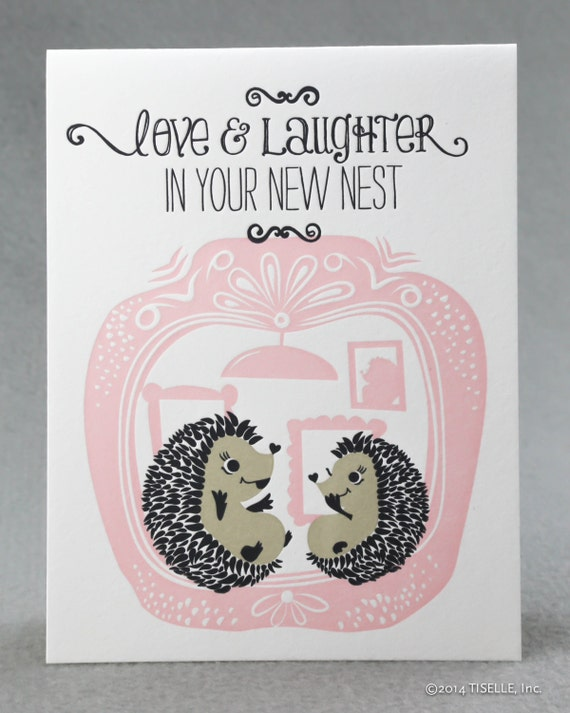 Letterpress New Home Card, Love and Laughter Hedgehogs