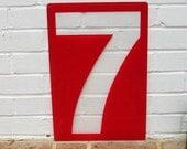 Vintage Sign Vintage Gas Station Price Sign Texaco Sign Vintage Hard Plastic Number 7 Seven Sign 17 1/2 Inches Tall