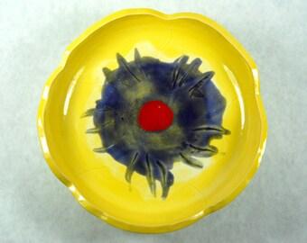 Yellow Flower Rain Catcher / Bird Bath / Bird Feeder