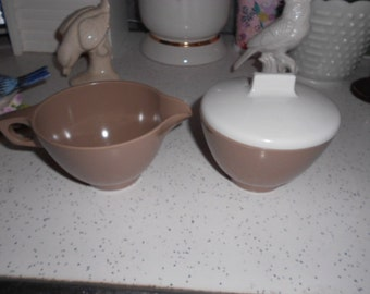 Vintage Mocha and White Melmac Creamer and Sugar Bowl with Lid Set