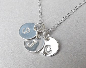Silver Monogram Necklace Three Initial Personalized Hand Stamped Charm Necklace Letter Pendant Jewelry, Gift for Women