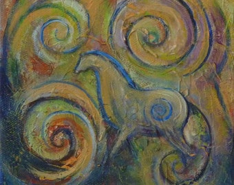 horse art  Spiral Equus 1 equine art ready to hang painting