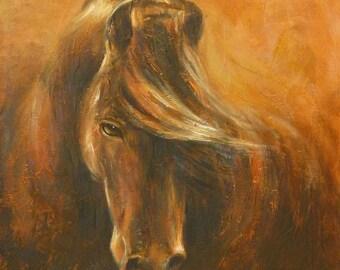 horse art King of Wild Horse Mountain mustang wild horses fine art print two sizes