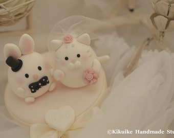 rabbit and kitty Wedding Cake Topper---k886