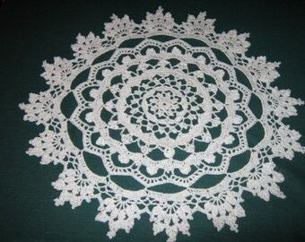 "Crochet Cotton Doily, Sandcastles design doily, 17"" wide"