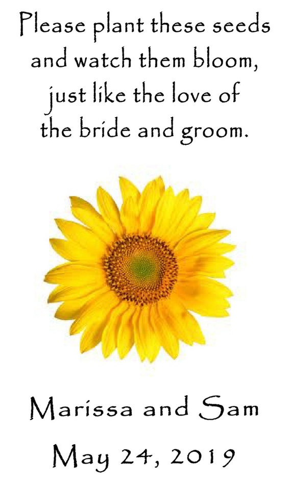 Personalized Wedding Favor Wildflower Seed Packets Sunflower