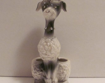 Vintage French Poodle  Lipstick or Brush Holder