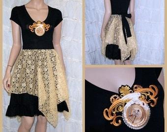 SteamPunk Alchemy Clock Gold Lace Dress Adult Medium Large MTCoffinz