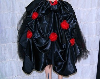 Black Satin Red Organza Roses Bustle Wrap MTCoffinz - All Adult Sizes - Ready to Ship
