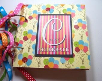 Birthday Mini Album, Birthday Scrapbook, Birthday Memory Album, Birthday Brag Book, Birthday Photo Album, Chipboard Album, Premade, 6x6