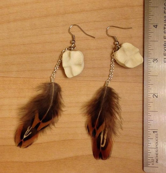 Real White Tailed Deer Pastern Cap Bones Pheasant Feather Hook Taxidermy Earrings