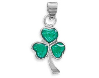 Sterling Silver Shamrock Pendant Charm with Green Enamel Finish, Celtic, Irish, Ireland, St. Patrick's Day, Lucky, Good Luck, Charm, Pendant