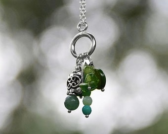 Shades of Green Necklace, Mother of Pearl Bead, Moss Opal Bead, Peridot Chip, Aventurine Bead, Dyed Jade Bead, Gift Necklace, Handmade