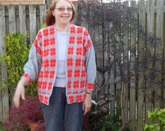 Half price sale Scottish designer,Sweater,Jacket,Celtic Knitted jacket in Grey with red poppies pattern. Poppy sweater, Poppy Jumper,
