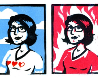 Hipster Geek Girl Lino Print - Hot or Cool