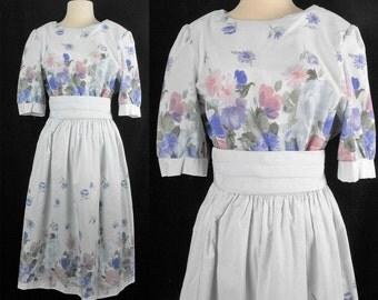 Vintage Stripe Pastel Floral Spring Dress 16 M