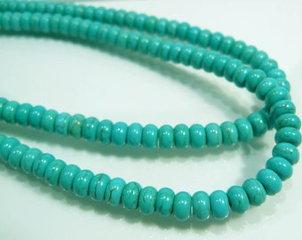 12 BEADS....Howlite Blue Green Turquoise Puffed Rondelle Gemstone Beads...5mm...BB