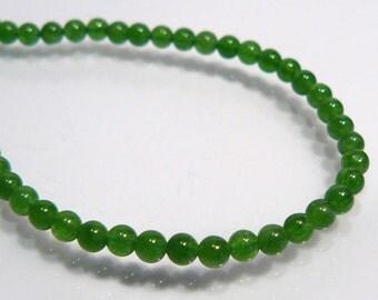 24 Beads....Green Jade Smooth Round Gemstone Spacer Beads...3mm...BB