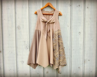 Med. Bohemian Upcycled Tunic Top// Sleeveless Summer Top// Taupe Neutrals// emmevielle
