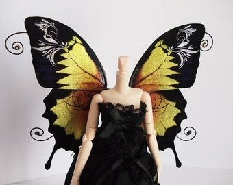 1/6 OOAK Butterfly wings for Dolls - Ulysses - Tribal -  Golden