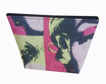 Warhol Style Marilyn Monroe Print Cotton Make Up Bag in Pink, Yellow and Black - Iconic & Kitsch