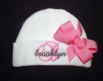 Personalized Baby Girl Hat Clothing Embroidered Monogram Pink Bow Newborn Infant Baby Shower Gift Coming Home Outfit Take Home Clothing