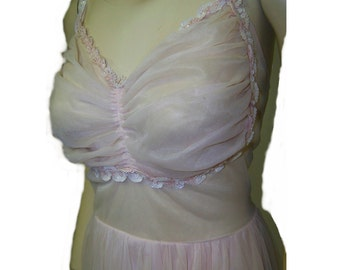 Vintage 50s pink sheer  nylon nightgown with sequins size 38 med