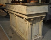 Distressed white antique repro counter /bar/reception desk/ hostess station
