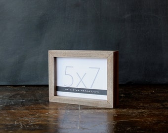 5x7 picture frame with natural sail rope colored finish part of Drift Collection . 5x7 handmade picture frame .