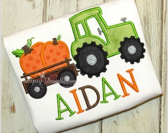 Fall Farm Tractor - Tractor with Pumpkins - Fall Tractor and Trailer - Fall Farm Shirt - Tractor Shirt  - Personalized Fall Tractor Shirt