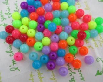 NEW item Bright Neon color mix  Acrylic Beads 50pcs Size 8mm Random mix