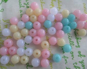 Jelly Round acrylic Beads 50pcs Size 8mm Pastel Mix