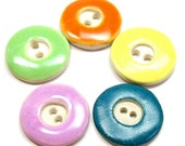 5 Ceramic BUTTONS, Handmade, washable, colorful buttons, unused.